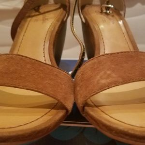 Seychelles brown suade and leather wedge sandals